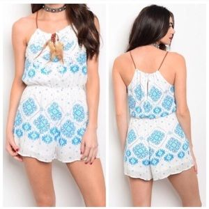 Pants - *NWT* White with Blue Pattern Romper